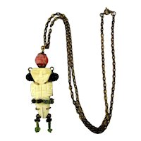 Old Carved Bone Egyptian Figure Pendant Necklace w/ Gems - Mummy Beads