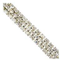 Sterling Silver Crystal Rhinestone Bracelet for Large Wrist