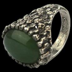 Brutalist Jade in Sterling Silver Ring - Tree Bark