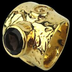 Wide Gilded Italian Ring w/ Topaz Stone