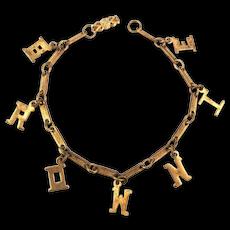 Vintage BROWNIE Girl Scouts Charm Bracelet c1940s