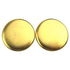 YSL Yves Saint Laurent Matte Gilt Clip Earrings
