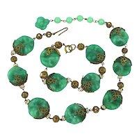 Vintage 1940s Poured Glass Demi Parure Necklace Bracelet Set
