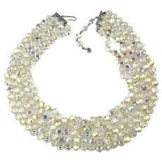Four Strand Shimmering Aurora Borealis Crystal Necklace