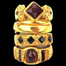 Stack of 4 Vintage Edgar Berebi Gilt Rings Size 7