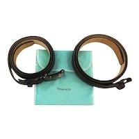 Tiffany & Co. Sterling Silver 18K Gold Belt Buckle w/ Tiffany Leather Belts