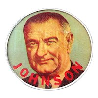 "Original 1960s Lyndon B. Johnson Campaign Flicker Pin 2.5"" Color For President LBJ"