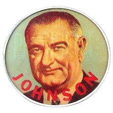"""Original 1960s Lyndon B. Johnson Campaign Flicker Pin 2.5"""" Color For President LBJ"""