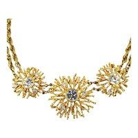 Kenneth Jay Lane Necklace KJL for Avon Gilt Crystal Statement Collar Book Piece
