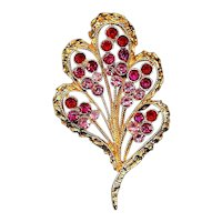 Vintage CORO Fan Pin w/ Pink & Red Rhinestones Brooch
