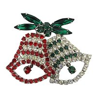 Pair of Christmas Bells Rhinestone Pin w/ Dangling Clappers
