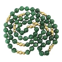 Long Strand of Genuine JADE w/ 10K Gold Beads Necklace