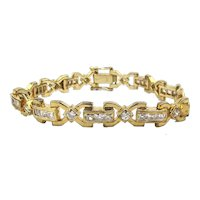 Gorgeous Gold on Sterling Silver Rhinestone Bracelet