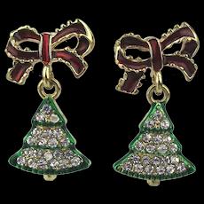 Rhinestone Christmas Tree Earrings Dangling from Bows