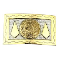 Mexican BERTHA Sterling Silver Gilded Belt Buckle Aztec Design