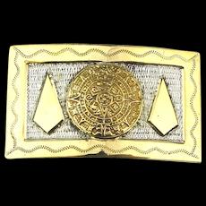 Mexican BERTHA Sterling Silver Gilded Belt Buckle Aztec Design