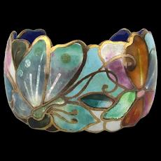 Vintage Champleve Enamel Flower Cuff Bracelet by David Kuo