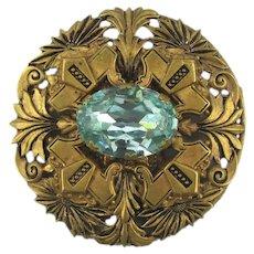 Art Deco Era Large Pin Brooch Aqua Glass in Fancy Brass