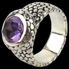 Mens Artisan Sterling Silver Ring w/ Amethyst Crystal