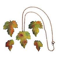 Vintage Autumn Leaves Enamel on Copper Set - Necklace Earrings Pins