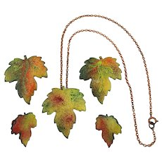 Vintage Autumn Leaves Enamel on Copper Set - Necklace Earrings Pins