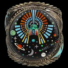 Cosmic Zuni Cuff Bracelet Inlaid Gems Sterling - Ronni - Ramil Glodove RRG