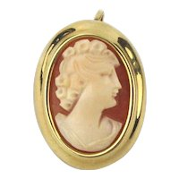 Vintage 18K 750 Gold Carved Shell Cameo Pin Pendant Brooch