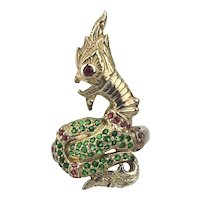 Unusual Sterling Silver Snake - Dragon Ring w/ Ruby Emerald Stones