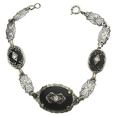 Art Deco Dainty Filigree Glass Link Bracelet