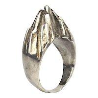 Big Man's Sterling Silver Ring Modernist Sculptural