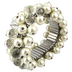 Vintage Expanding Cha-Cha Bracelet - Faux Pearls and Crystal Beads
