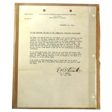 Original 1943 U.S. Navy Christmas Letter Camp Peary Va.