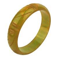 Art Deco Era Bakelite Bangle Bracelet - Carved Chartreuse