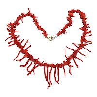 Vintage Branch Coral Necklace - Rich Red Natural Color