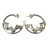 Vintage Sterling Silver Horse Earrings Three in a Hoop