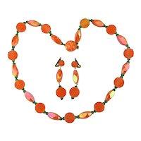 c1950s Austrian Glass Orange Fruit Salad Set Necklace Earrings