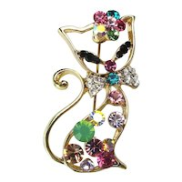 Hoity Toity Fancy Cat Pin - Sparkling in Crystal Rhinestones