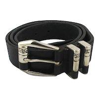 Genuine Vintage Mens VERSACE V2 Black Leather Belt Size 38