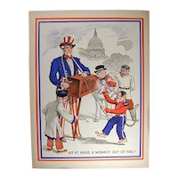 Original 1943 WWII Uncle Sam Propaganda Poster w/ Hitler Monkey