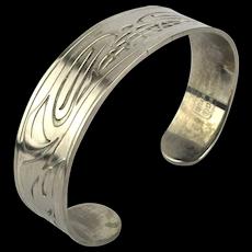 Pewter Cuff Bracelet by Gitxsan Artist Daniel Yunkws WOLF