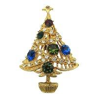 Vintage Rhinestone Christmas Tree Pin Glitz Galore