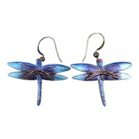 Pretty Sterling Silver Blue Enamel Dragonfly Earrings