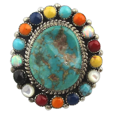 Zuni Sterling Silver Turquoise Ring of Gemstones - Ronni - Ramil Glodove ~ G ~