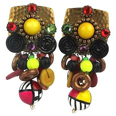 Vintage Toney & Romelda 1980s Clip Earrings Outrageously Fun