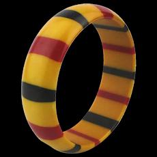 Vintage Bakelite Bangle Bracelet w/ Infused Stripes