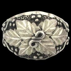 Vintage Sterling Silver WM Wheeler Ornate Leaf Ring
