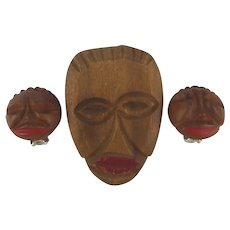 Ethnic 1940s Hand Carved Wood Pin Earrings Set - Black Americana Faces