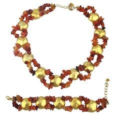 Gorgeous Set Carnelian Gilt Dome Necklace Bracelet
