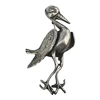 Big Old Silver Stork Bird w/ Rhinestone Beak