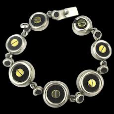 Taxco Sterling Silver Gilt Screws Bracelet Modernist Links